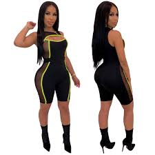 <b>Neon Green Mesh Patchwork</b> Sexy Jumpsuit Women Club Playsuit ...