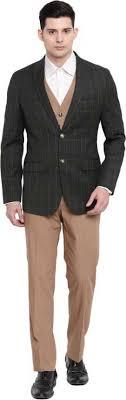 Suitsmith <b>3</b>-<b>Piece Stylish</b> Checkered Suit, Premium Designer Italian ...
