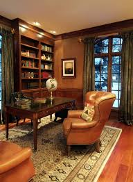 stylish and dramatic masculine home offices wooden furniture interior and calming and versatile color and mixes with black lacquer and arm chair custom captivating home office desk