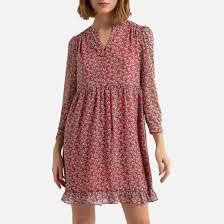 Платье укороченное <b>расклешенное</b> с принтом, тунисский вырез ...