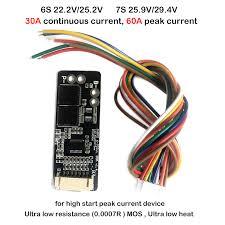 6S <b>7S</b> Li ion Lithium Battery Protection Board 60A 30A 25.2V 24V ...
