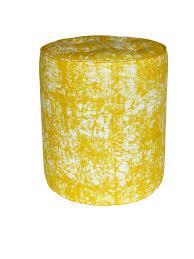 Koja yellow luxury African <b>print design pouffe</b> in yellow batik fabric ...