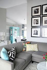 i love the living room colors and i just noticed the dining area in the background i love it light blue hutch striped wall and some dark blue patterned amazing living room color