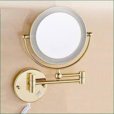 "HomJo <b>Golden Brass LED</b> Light Makeup Mirrors 8"" Round Dual ..."