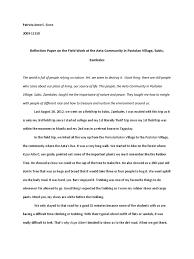 field trip reflection paper