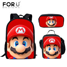 <b>FORUDESIGNS Fashion</b> Boys Girl School Bags Cute <b>Cartoon</b> Mario ...