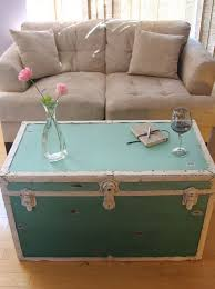 room vintage chest coffee table:  coffee table in living room view in gallery distressed ombre steamer trunk in teal