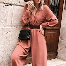 Simplee <b>Elegant v neck</b> long sleeve <b>women jumpsuit</b> Sashes pocket ...