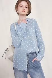 <b>High Quality Silk 100</b>% Dot Printed Shirt <b>Top</b> 2019 Spring Summer ...