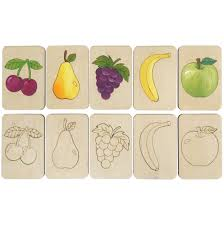 <b>Карточки</b>-<b>раскраски Wood</b> Games, фрукты оптом под логотип