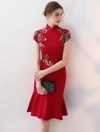 Blue paisley pattern red <b>brocade Chinese</b> modern qipao ...