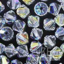 CRYSTAL AB 4mm Swarovski Crystal <b>Bicone</b> | Eureka Crystal <b>Beads</b>