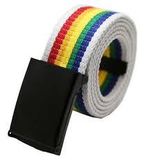 <b>Unisex</b> Gay Pride Rainbow Stripe <b>Canvas Belt</b> Adjustable One Size ...