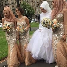 Mermaid <b>Champagne</b> Tulle Bridesmaid Dresses Crew Neck ...