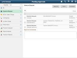 using peoplesoft fluid user interface self service approval tablet pending approvals page showing the absence request category multiple pending approvals