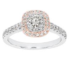 <b>Diamond</b> Halo Engagement Ring in Rose and <b>White 14K Gold</b> (0.75 ...