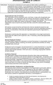 code of conduct example premium templates forms organizational code of conduct example