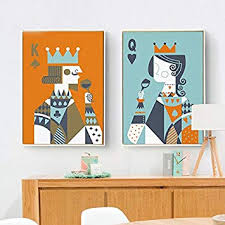 Amazon.com: Cartoon <b>Poker</b> Card <b>King &</b> Queen Canvas Print, Wall ...