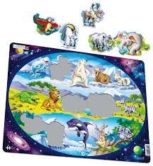 Рамка-вкладыш <b>Larsen Планета животных</b> (NM6), 15 дет ...