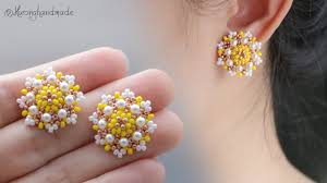<b>Spring flower</b> earrings. How to make beaded stud earrings - YouTube