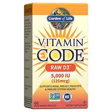 Garden of Life, <b>Vitamin Code</b>, <b>RAW</b> D3, 5,000 IU, 60 Vegetarian ...