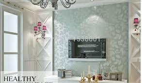 room elegant wallpaper bedroom: elegant non woven light blue leaf embossed wallpaper warm bedroom