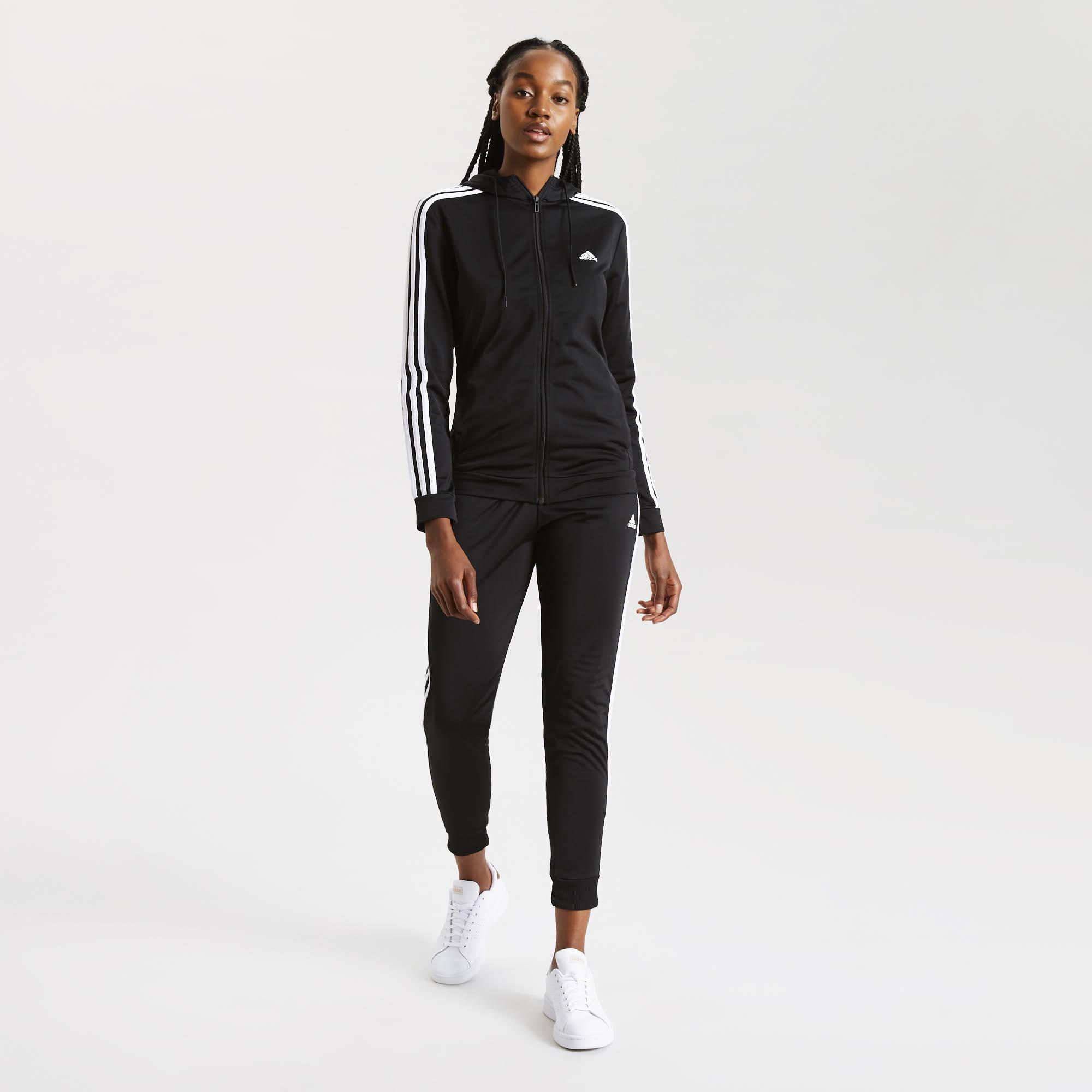 Adidas 3 Stripe Hood Tracksuit Womens - Black/White