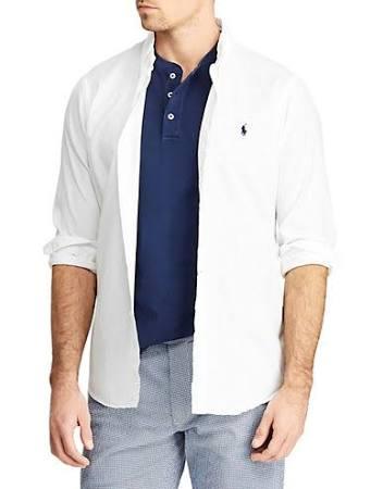Manga Polo Larga Ralph 4x De Camisa Bordada Para Alto Lauren Hombre Tamaño Botones Blanco Con qIBUwrI