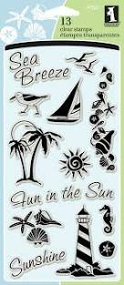 Inkadinkado Nautical Beach Clear Stamp Set, 13pc