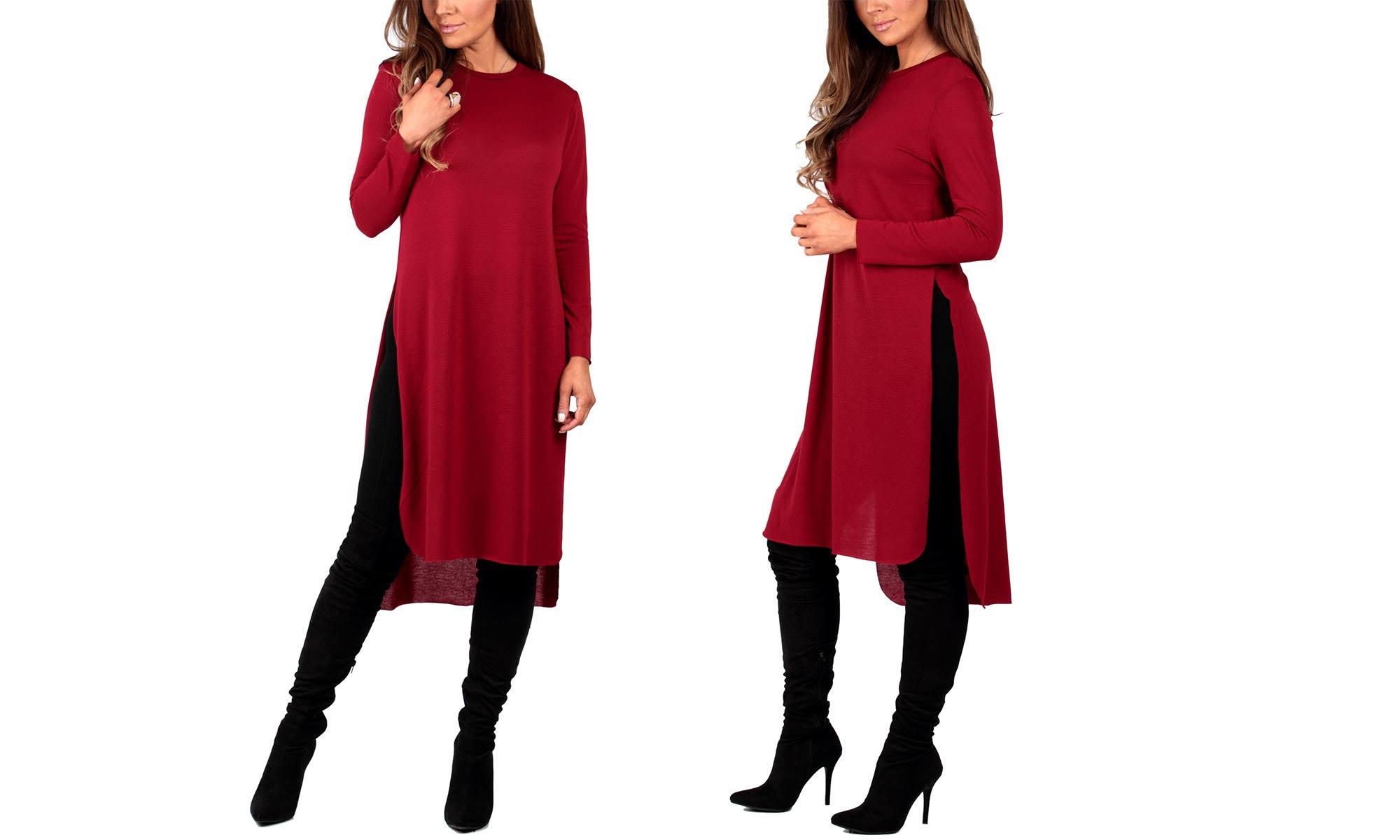 Plus Geschlitztes California Rot Tunika Trading Frauen tunika Seitlich Group kleid qzzPwaT