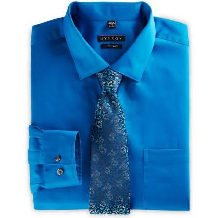 Y Hombres 38 20 Tamaño Alto Vestir Camisa Azul De 37 Para Synrgy Grande Satén BHI4q