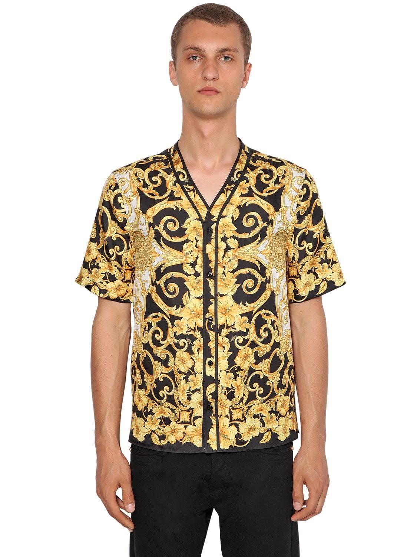 Heritage Versace Negro Silk 42 Hibiscus Bowling Hombres Dorado Shirt 1C5Cxq6