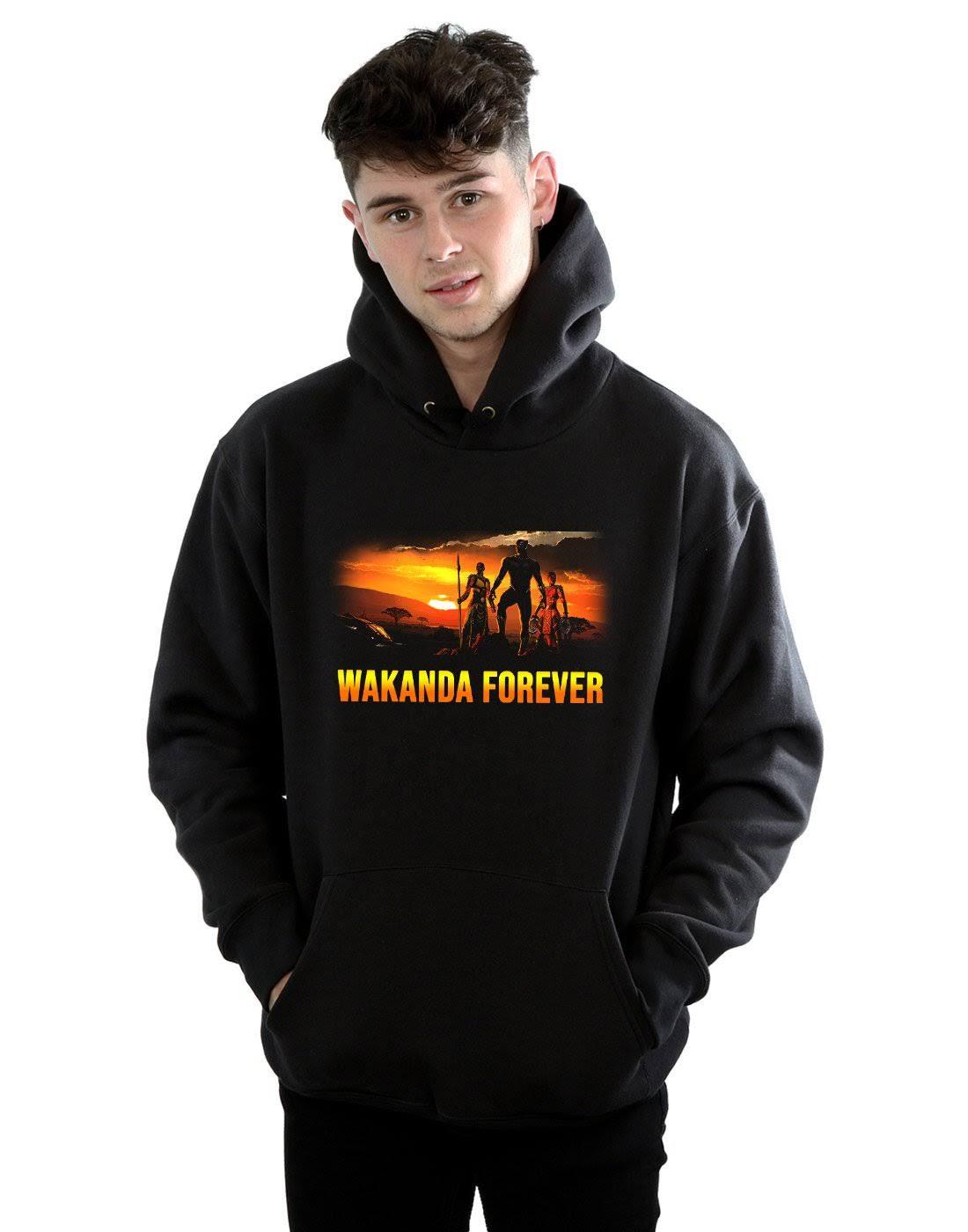 (Black, X-Large) Marvel Men's Black Panther Wakanda Forever Hoodie