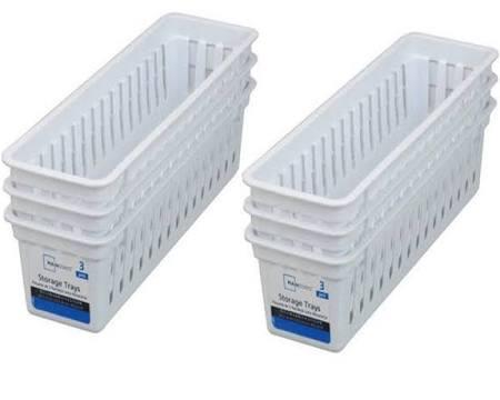 Alimentos Mainstays Almacenamiento Set De Cestas Bandejas 6 Organizer Slim Artículos White Plastic Para Hogar El pxRrpY
