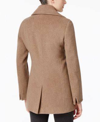 Wolle einreiher Tan Calvin Klein Beige kaschmir M peacoat Entworfen Für Macy's PUx5w1fqx