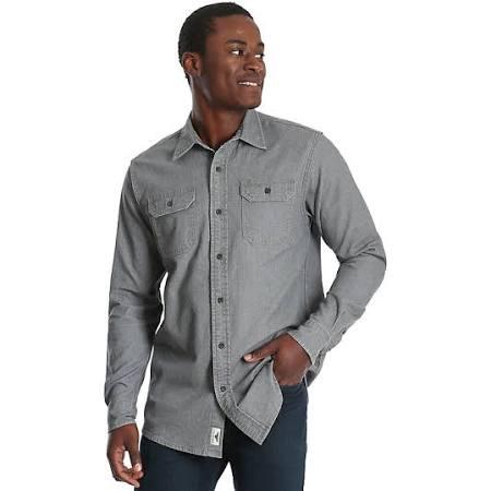 Wrangler Herren Grau Twill größe Denim Langarm Small Shirt qT4qfr