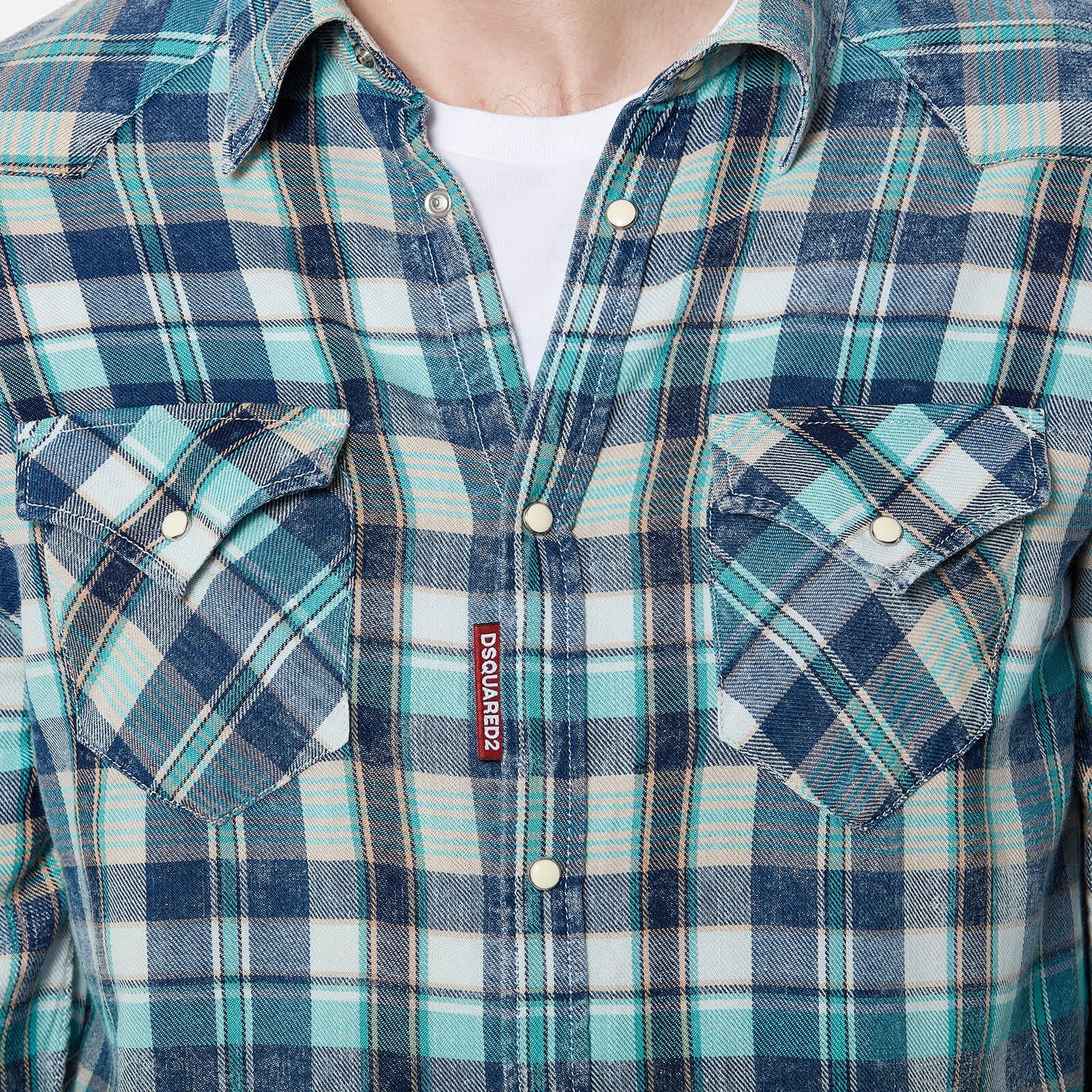 Hombre Dsquared2 Verde Camisa Turquesa Algodón Azul Viscosa drrqRw8