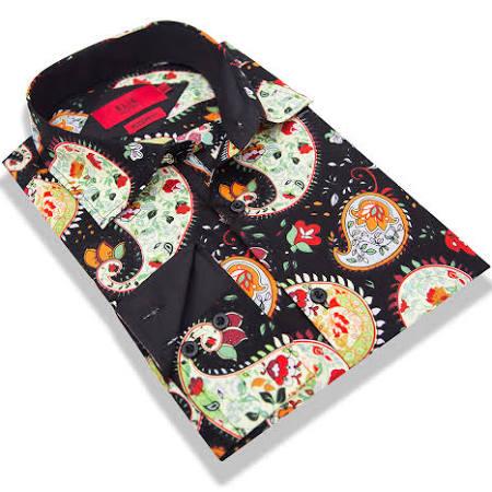 Elie Slim Y Balleh Los Paisley De Italia 3xl Con Botones Hombres Milano Camisas 18 Moderno Rojo Fit Ocasionales Vestido Negro rqrntUwd