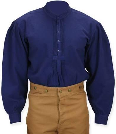 größe Navy Retro Gothic Steampunk Larp Collar Mens Cotton Band Cosplay Vampir Grundlegendes Pirate 2x Blue 2xl Arbeitshemd 85q6v6
