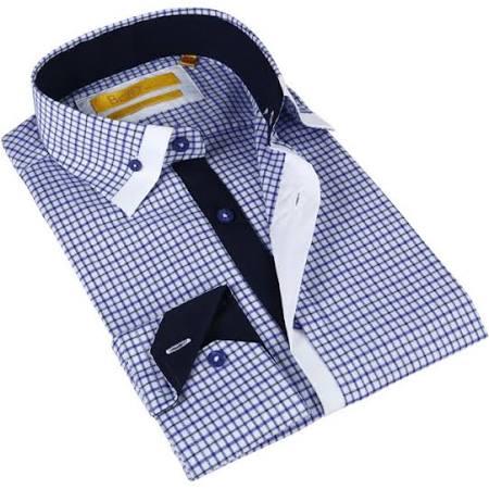 Camisa De Brio Cuadros Y Botones algodón A Con pequeña Para Hombres Azul Blanco Milano En Vestir rr1qZ8wd