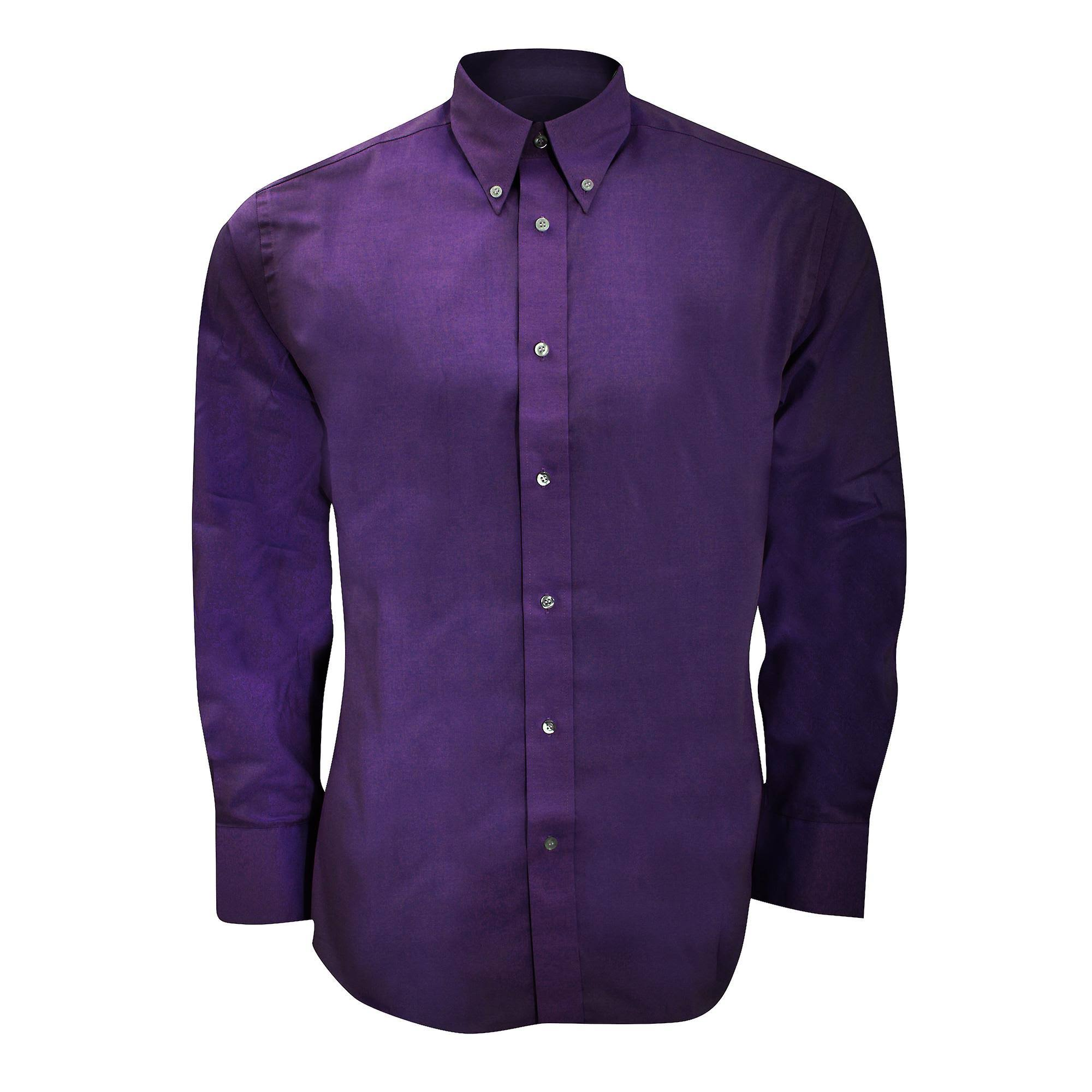 De Para Premium Camisa Dark Purple Oxford Manga Hombre Kit Tailored Fit Larga Kustom twCqa5q