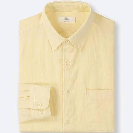 De Larga Premium Manga Camisa Lino M Uniqlo Amarillo Para Hombre SgqnwTWFZ
