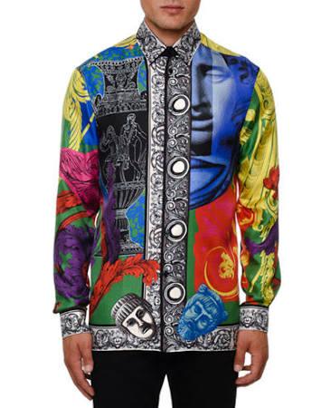 17 Seda De Versace 5 Multi 17½ Hombre Para Camisa Baroque nqP0C1w66