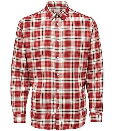 Checkered Size Large Jason fit Selected Tomato Regular Herren Homme Hemd v8wUtq4x
