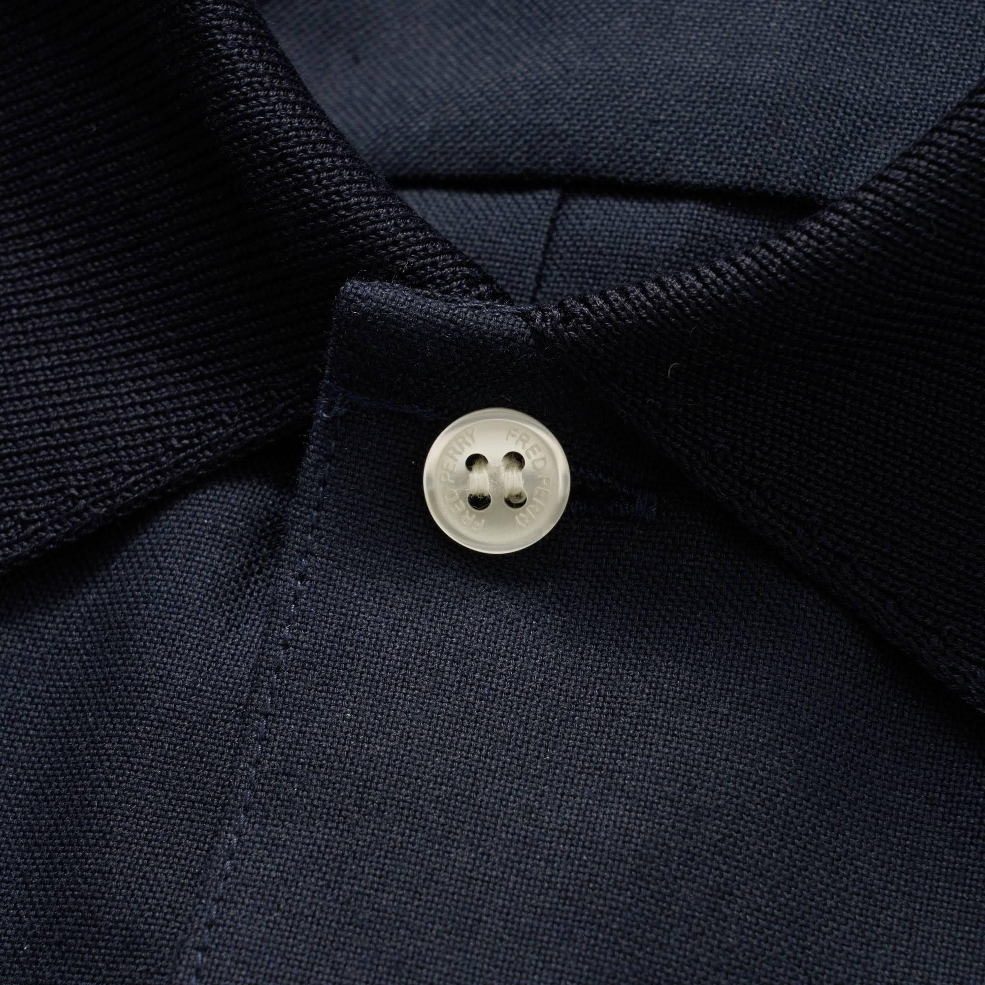 Camisa Perry Marino Con Corta Oxford Cuello De Punto Azul Fred Redondo Manga rzHrgPwq