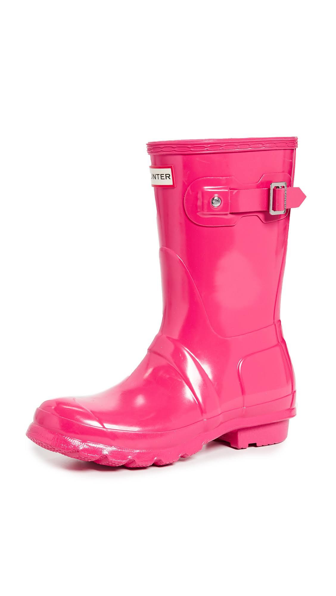 korte glansfel originele Hunter regen roze laarzen met dames thdQrs