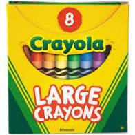 Crayola Large Crayons, Tuck Box, 8 Colors/Box - CYO520080