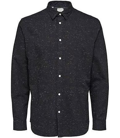 Selected Speck Andrew fit Mit Hemd Bedrucktes Herren Size Knopfleiste Slim Black Homme Medium fxqrvf