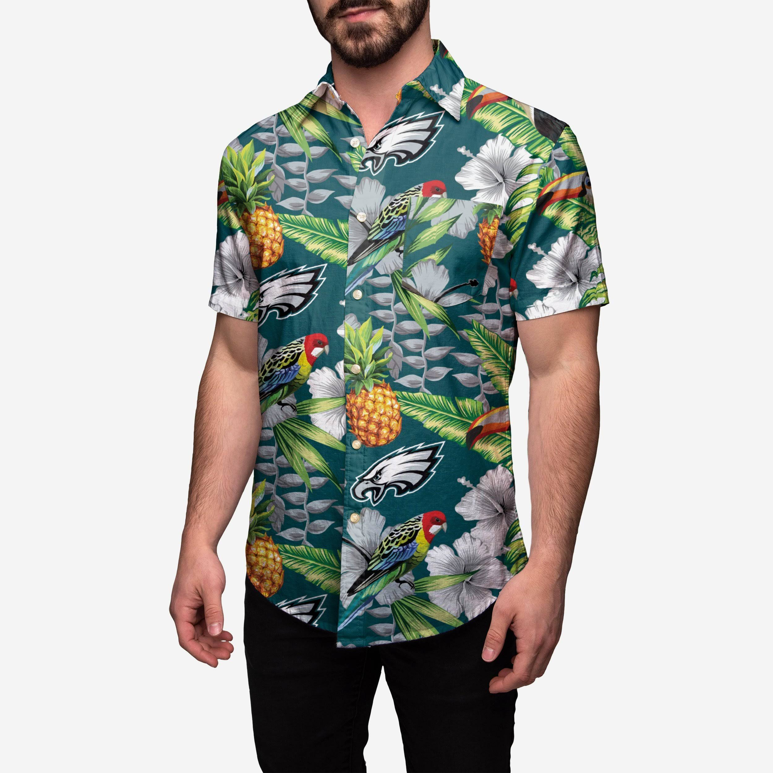 Floral Tropical Camisa Hombres Botón Hasta Nfl 6P51qYxwn