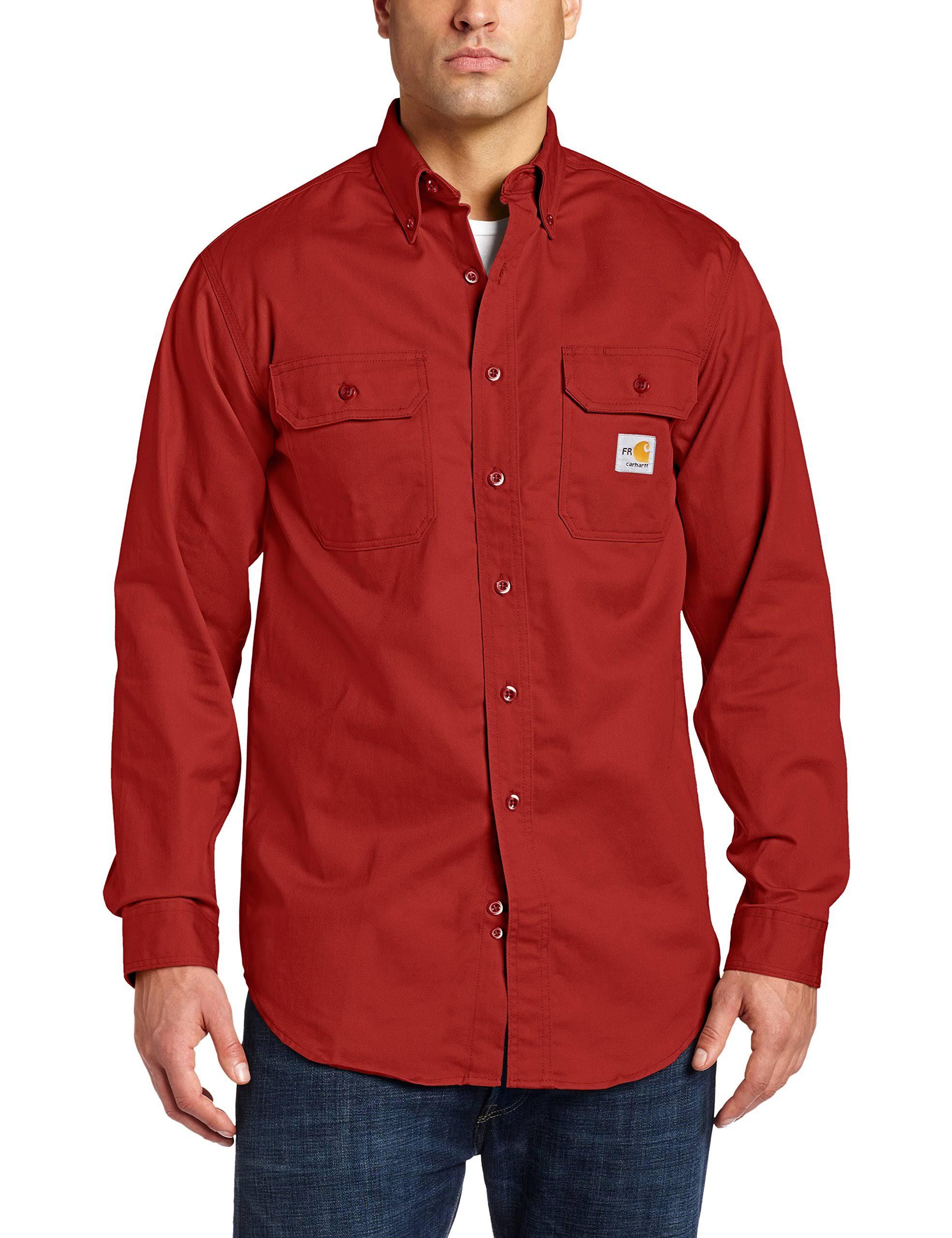 Dark Für Crimson Carhartt Klassisches Twill shirt Flammhemmendes Herren qHFPH1